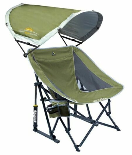GCI Outdoor Pod Rocker Collapsible Rocking Chair with SunShade.