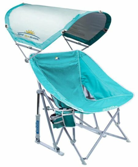 GCI Outdoor Waterside Pod Rocker Collapsible Rocking Chair with Sunshade.