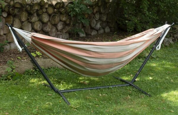 This is how the Vivere hammock with stand looks on the grass.