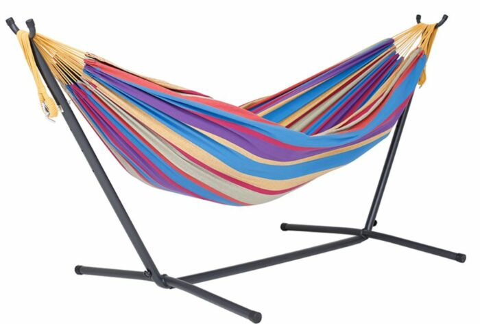 Vivere Double Hammock with Space Saving Steel Stand.