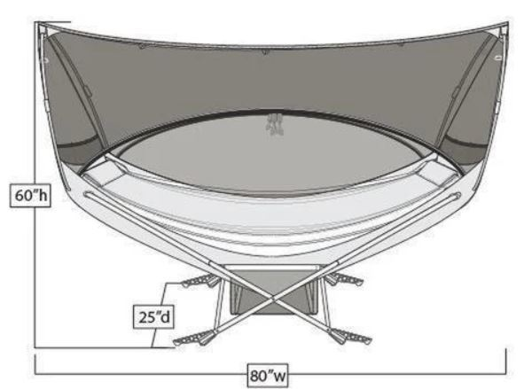 The dimensions with the canopy.