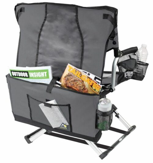 The carry bag doubles as a storage space on the back of the chair.