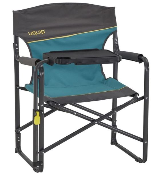 Uquip Woody Portable Folding Directors Chair with Tiltable Table.