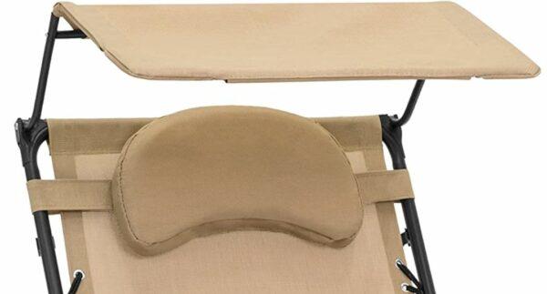 Adjustable sunshade and headrest.