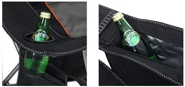 A bottle holder and a cooler are available.