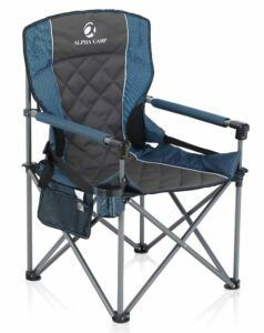ALPHA CAMP Oversized Camping Folding Chair with Solid Armrest