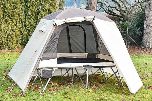 Timber Ridge 2 Person Quick Setup Full Fly Cot Tent with one open vestibule.