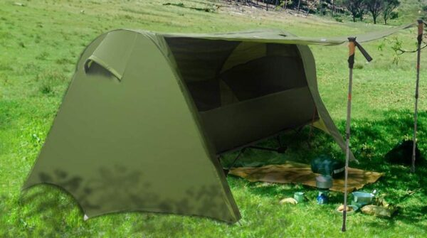 An awning created with the help of the trekking poles.