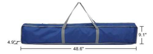 The carry bag and its dimensions.
