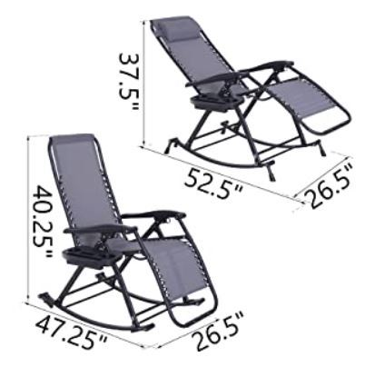 Dimensions when used as a zero-gravity chair and as a rocker chair.