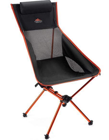 Cascade Mountain Tech Outdoor High Back Lightweight Camp Chair with Headrest