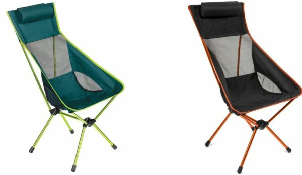 Cascade Mountain Tech Outdoor High Back Lightweight Camp Chair with Headrest in two colors.
