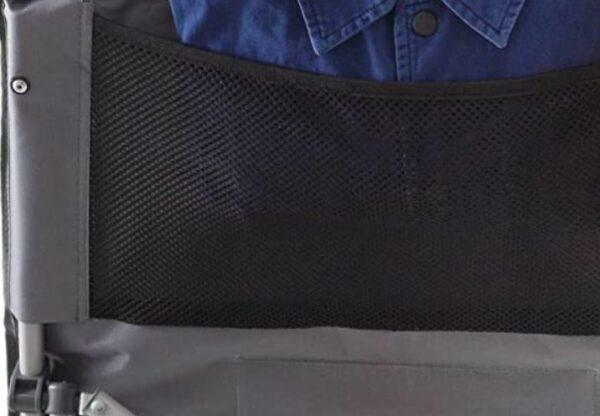 Mesh pocket on the backrest.
