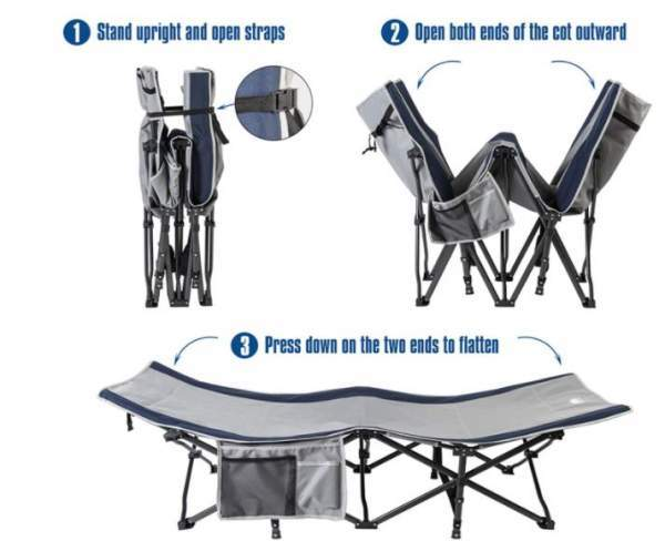 Some steps in folding and unfolding the cot.