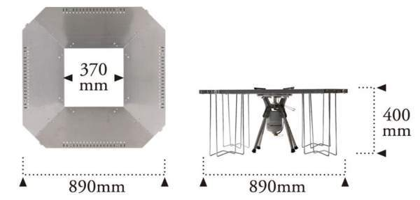 The dimensions in its second setup.