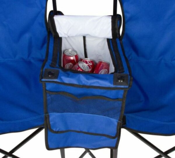 The cooler with storage pouches on the side.