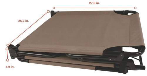 This is the cot folded, and its dimensions in the folded state.