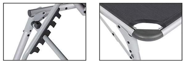 Locking features for the backrest and for the legs.