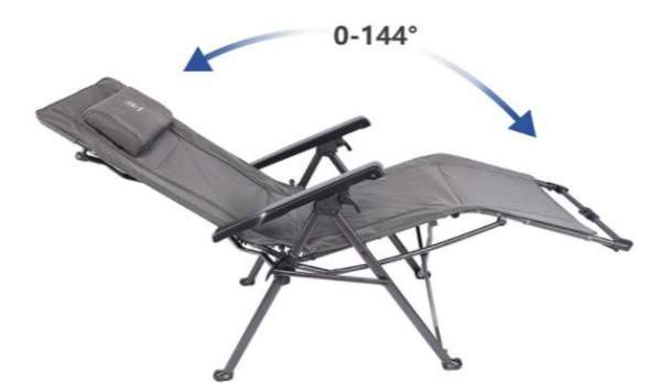 Reclining chair with an adjustable footrest.