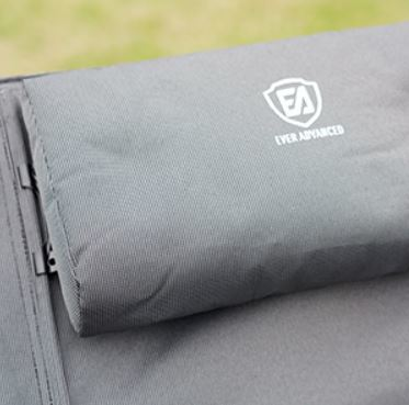Detachable pillow with a slider for adjustment.