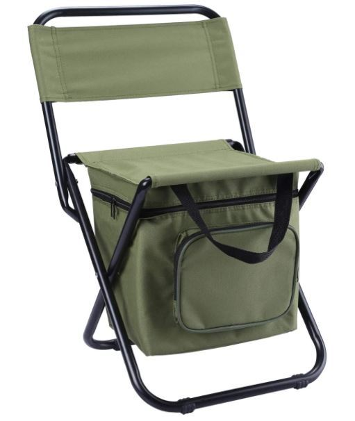 LEADALLWAY Foldable Camping Chair with Cooler Bag.