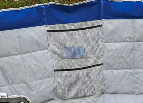 Mesh pouches on the backrest.