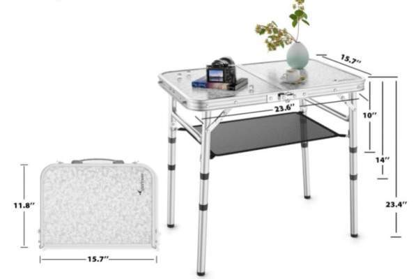 Versatile table with 3 heights.