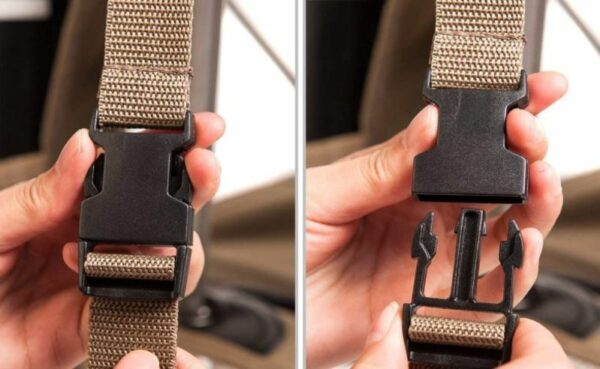 Straps and buckles in the corners.