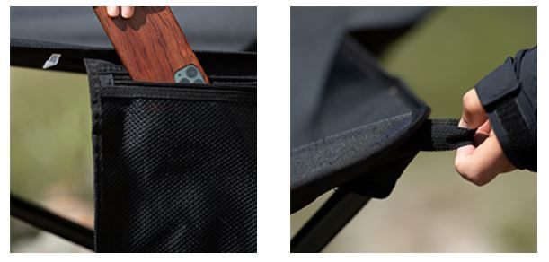 A storage pouch and pull loop.