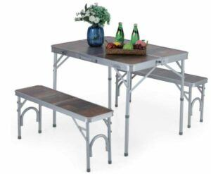 ALPHA CAMP 3-Piece Folding Camping Table with Bench Set