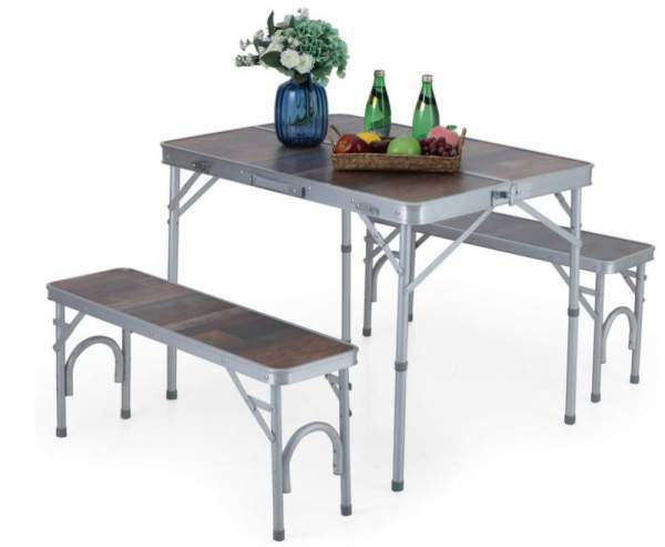 ALPHA CAMP 3-Piece Folding Camping Table with Bench Set.